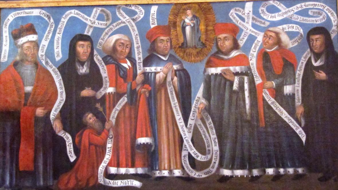 Pozdně středověká malba, tzv. Rubenow Tafel, vybrazující první kvodlibetáře na univerzitách v Rostocku a Greifswaldu