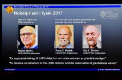 Rainer Weiss, Barry C. Barish and Kip S. Thorne