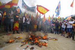 Ultrapravicoví demonstranti v Barceloně