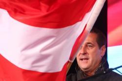 Šéf FPÖ Heinz-Christian Strache na jednom z posledních mítinků