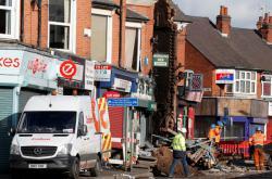 Exploze v domě v Leicesteru