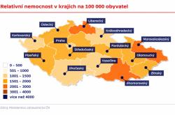 Relativní nemocnost v krajích na 100 000 obyvatel