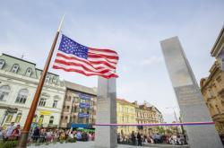 Obnovený památník Díky, Ameriko! na Americké třídě v Plzni