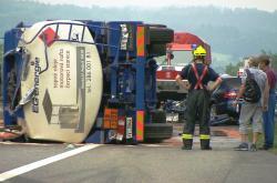 Nehoda cisterny na dálnici D1