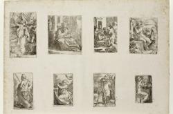 Parmigianino / list s osmi rytinami