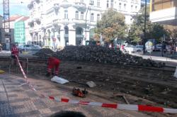 Oprava kolejí na křižovatce ulic Spálená a Národní