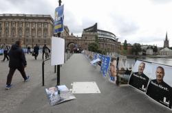 Předvolební plakáty ve Stockholmu