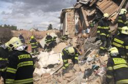 Následky výbuchu plynu v rodinném domě v Mostkovicích na Prostějovsku