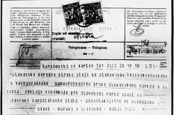Telegram Národnímu výboru ze slovenského Martina
