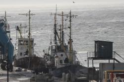 Lodě kotvící v ukrajinském Berďansku