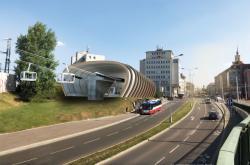 Vizualizace stanice lanovky v Podbabě