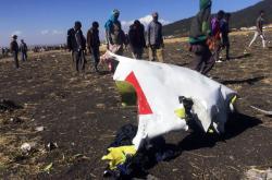 Trosky zříceného letadla etiopských aerolinií