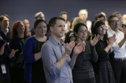 Zaměstnanci agentury AP na vyhlášení Pulitzerovy ceny v New Yorku