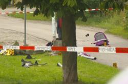 Následky nehody v Humpolci