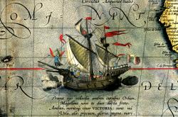 Vyobrazení lodi Victoria na mapě z roku 1590