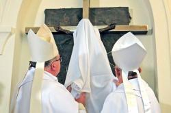 Odhalení pamětního kříže v želivském klášteře