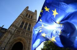 Vlajka EU před britským parlamentem