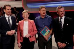Lídři rakouských stran Sebastian Kurz, Beate Meinlová Reisingerová, Werner Kogler a Norbert Hofer