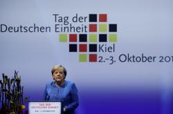 Kancléřka Merkelová na oslavách v Kielu