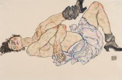 Egon Schiele / Ležící ženský akt, 1917