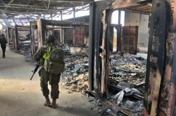 Poničená americká základna Ajn al-Asad v Iráku