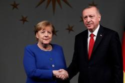 Kancléřka Merkelová a prezident Erdogan v Istanbulu