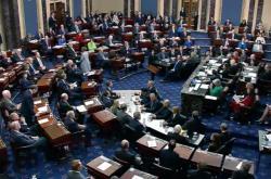 Americký Senát během hlasování o Trumpově impeachmentu