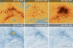 Změna emisí oxidu dusičitého mezi lednem a únorem v oblasti města Wu-chan
