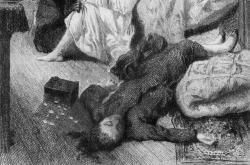 Ilustrace z knihy Vraždy v ulici Morgue (1870)