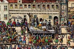 Poprava 27 českých pánů roku 1621 na dobovém dřevořezu