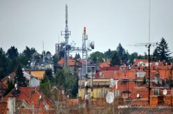 Antény televizního vysílače na Barvičové ulici v Brně