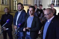 Zleva Lukáš Dubec (Piráti), Jiří Nantl (ODS), Jan Grolich (KDU-ČSL) a František Lukl (Starostové pro jižní Moravu)