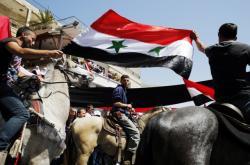Členové drúzské komunity oslavují Den nezávislosti Sýrie