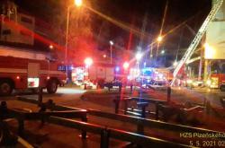 Zásah hasičů u požáru plzeňské teplárny