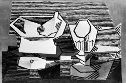 Černobílá reprodukce Picassova Stolu s pohárem, zveřejněná po krádeži v roce 1991