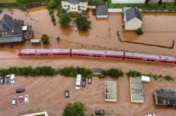 Zatopená vlaková stanice v obci Kordel v Porýní-Falci