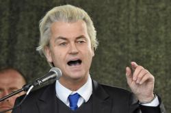 Geert Wilders na drážďanské demonstraci Pegidy