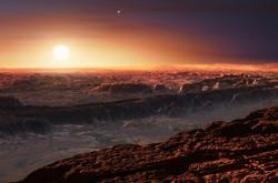 Umělecká představa o vzhledu exoplanety u Proximy Centauri
