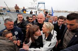Marine Le Penová se svými stoupenci v jihofrancouzském Grau-du-Roi