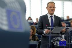 Donald Tusk během projevu v Evropském parlamentu