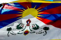 Vlajka pro Tibet před magistrátem Hradce Králové