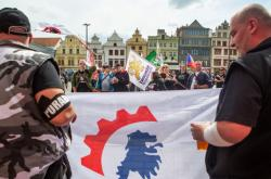 Demonstrace DSSS na plzeňském náměstí Republiky