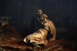 Ivan Hrozný a jeho syn Ivan. Obraz Ilji Repina z roku 1885