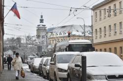 První sníh v Českých Budějovicích