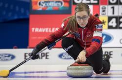 Hráčka curlingu Anna Kubešová na světovém šampionátu v Kanadě