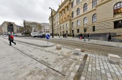 Rekonstruovaný prostor mezi budovami Národního muzea