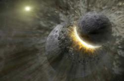 Vizualizace srážky Země a protoplanety Theia