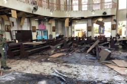 Následky útoku na katolický kostel na Filipínách