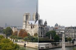 Katedrála Notre-Dame před požárem a po něm