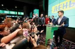Zelenskyj na tiskové konferenci po zveřejnění exit pollů